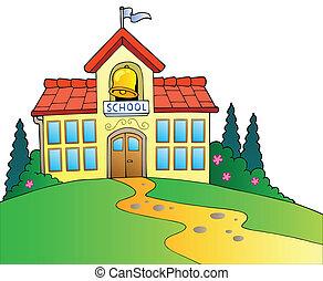 건물, 크게, 학교