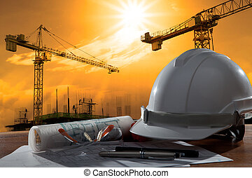 건물, 헬멧, 안전, 장면, pland, 나무, 건축가, 파일, 테이블, 해석, 일몰
