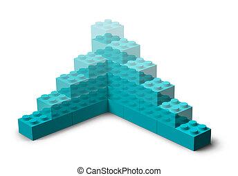 건물, 3차원, 고아하다, 장난감 블록, 솟는