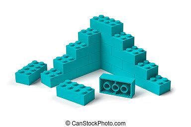 건물, 3차원, 장난감 블록, 해석, 출발