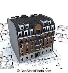 건축가, 건물, 주거다, 청사진, 정상