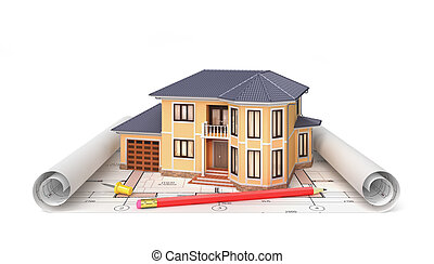 건축가, 주거다, project., 집, blueprints., 삽화, 도구, 주택, 3차원
