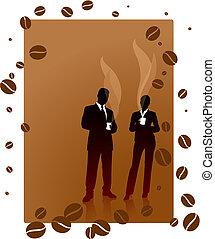 걷히다, 커피, 배경, 비즈니스 팀