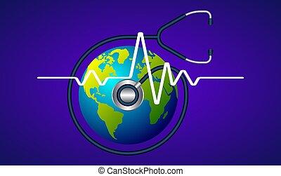 검사, 떼어내다, 청진기, 지구, 심장의 고동, 배경