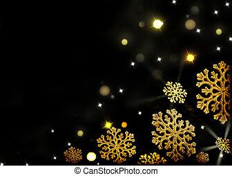 검정, 금, 배경, -, 크리스마스, 눈송이