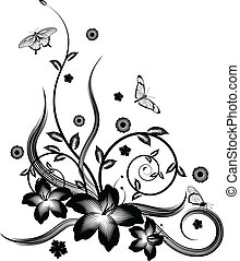 검정, 꽃의, 구석, 디자인, 화려한