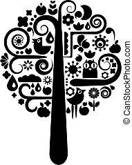 검정, 생태학의, 나무, 백색, 아이콘