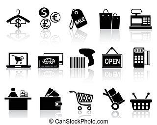 검정, 소매, 세트, 쇼핑, 아이콘