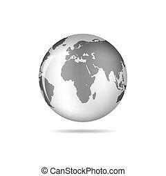 검정, 지구, 아이콘, 지구