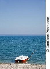 검정, 해안, 바다, 보트