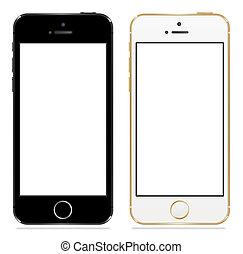 검정, iphone, 5s, 애플, 백색