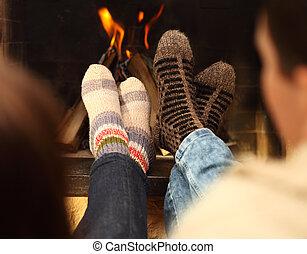 겨울, 계절, 한 쌍, 양말, 정면, 다리, 벽난로