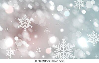 겨울, 떼어내다, 희미해지는, 배경., 벡터, 눈송이