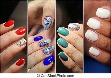 겨울, 무지개, 수집, 디자인, 손톱, 여름, 다채로운