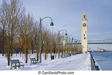 겨울, 시계, 공원, 눈, 탑, 강, 몬트리올