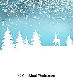 겨울, 크리스마스, forest., 배경., deer., 요정, 백색, 조경술을 써서 녹화하다