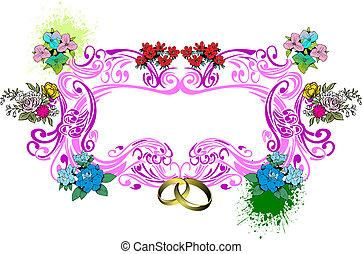 결혼식, valentine`s 날, 카드, 또는