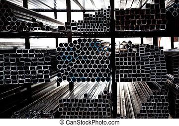겹쳐 쌓이는, 강철, 은 배관한다