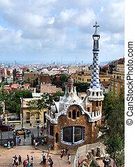 경계표, guell, -, 공원, 바르셀로나