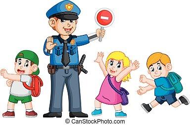 경찰, 도움, 간판, 중지, 십자가, zebra, 통행, 을 사용하여, 아이들