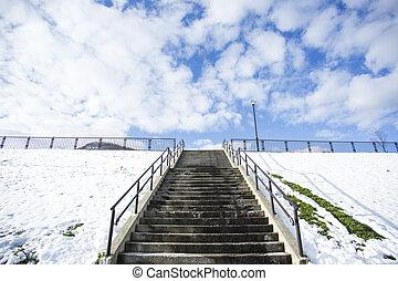 계단, 계절, 공원, 겨울, 눈