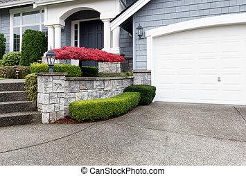 계절의, 단풍나무, 현대, 가을, 변화, 동안에, 가정, 빨강