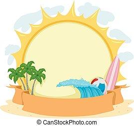 계절의, 여름, 판자, 리본