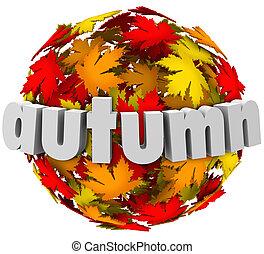 계절, 잎, autum, 구체, 색, 작고 보기 어리석은 사람, 변화