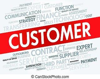 고객, 개념, 낱말, 구름, 꼬리표