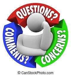 고객 지원, comments, 도표, 관심, 질문