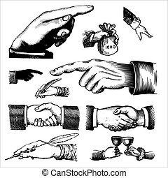 고물, 조각, (vector), 손