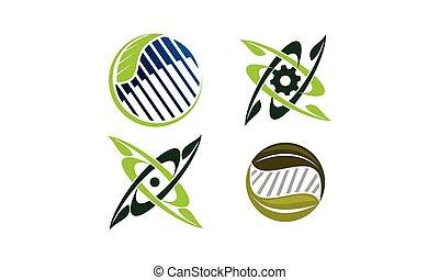 고아하다, 녹색, 세트, 기술, 본뜨는 공구