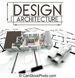 고아하다, 집, 청사진, 디자인, 건축술
