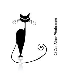 고양이, 검정, 너의, 디자인, 실루엣