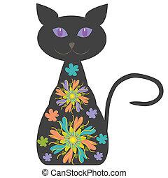 고양이, 밝은, 꽃, 너의, 디자인, 실루엣