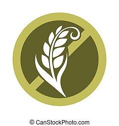 곡물, gluten, 곡물, 비어 있는, 로고, 원, 교차하는, 물질