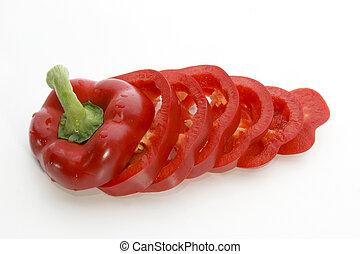 공급 절감, 박편, 하나, 신선한, 단맛이 나는 고추의 일종, 빨강