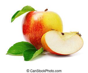 공급 절감, 애플, 잎, 녹색, 과일, 빨강