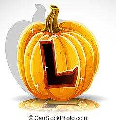 공급 절감, halloween, l, pumpkin., 샘, 나가