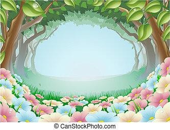 공상, 숲, 장면