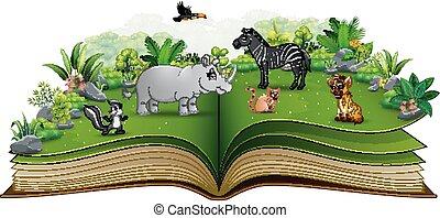 공원, 만화, 책, 동물, 열려라, 노는 것