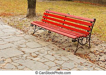 공원, 빨강, 벤치