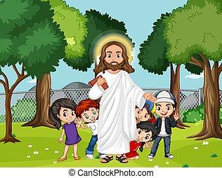 공원, 예수, 아이들