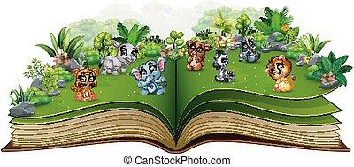 공원, 책, 동물, 아기, 열려라, 만화