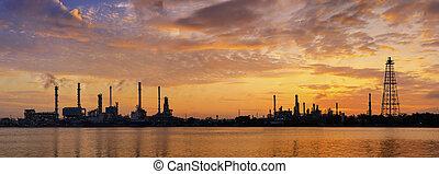 공장, 정련소, 기름