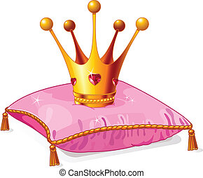 공주, 베개, 왕관, 핑크
