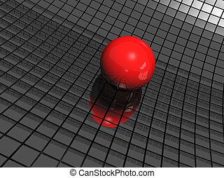 공, 거울, 검은 배경, 빨강, 3차원
