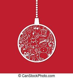 공, 겨울의 나무, 인사, 삽화, 만화, 배경., 주제, 벡터, year., 명랑한, 새로운, 휴일, 크리스마스 카드, 행복하다