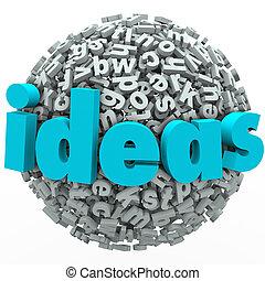 공, 구체, 독창성, 생각, 상상, 편지