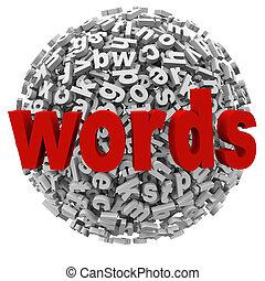 공, 낱말, 편지, 알파벳, 떼어내다, 메시지, 구체, 낱말